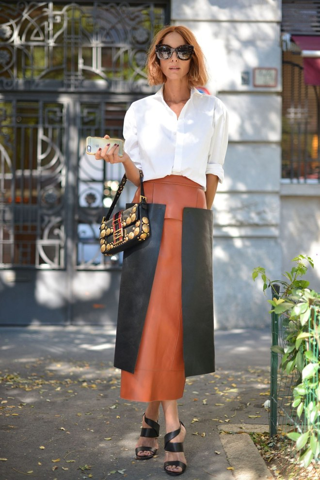 fashion-2015-11-white-shirt-outfit-ideas-work-two-tone-leather-skirt-getty-images-main